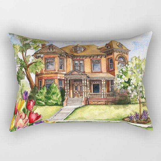 Victorian Mansion in the Spring Rectangular Pillow