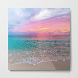 Aerial Photography Beautiful: Turquoise Sunset Relaxing, Peaceful, Coastal Seashore Metal Print