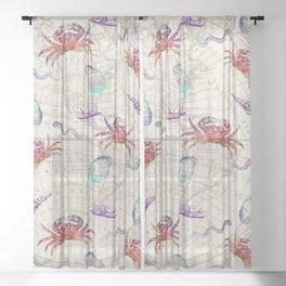 vintage sea life Sheer Curtain