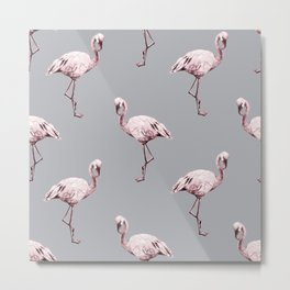 Simply Flamingo on Concrete Gray Metal Print