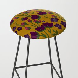 Purple and Gold Floral Seamless Illustration Bar Stool