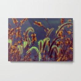 Autumn Grassflower in copper neon style Metal Print