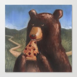 Bear Eating Pizza Canvas Print