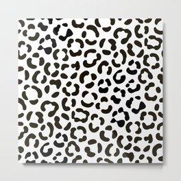 Trendy Black and White Leopard Print Pattern Metal Print