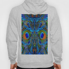 ARTY FEATHERY BLUE PEACOCK ABSTRACTED  FEATHERS ART Hoody