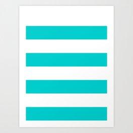 Wide Horizontal Stripes - White and Cyan Art Print