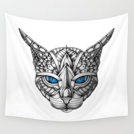Ornate Blue Eyes Cat Wall Tapestry