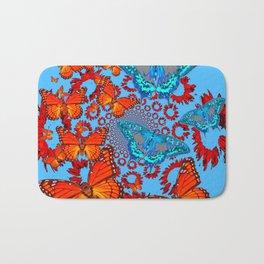 Blue & Orange Butterflies Abstract Pattern Art Bath Mat