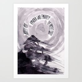 haiku illustration ink - ancient cedars and wind Art Print
