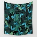Tropical Butterfly Jungle Night Leaves Pattern #5 #tropical #decor #art #society6 by anitabellajantz