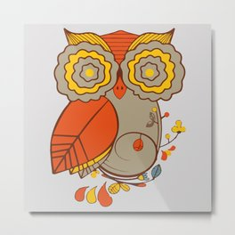 Abstract Colorful Floral Owl, Cute Owl Sticker, Terracotta Colors, Orange Yellow Gray And  Brown Metal Print