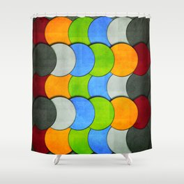 Overlapping Circles-Textured  Shower Curtain