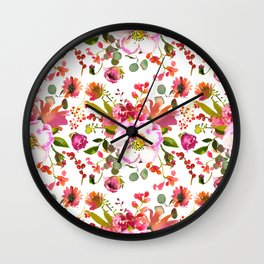 Country green coral pink red watercolor floral Wall Clock