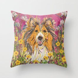 Sweet Summer Sheltie Throw Pillow