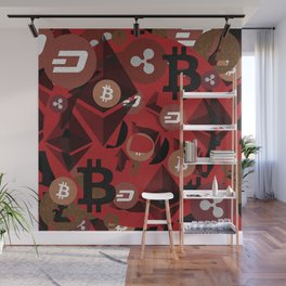Cryptocurrency money pink pattern Wall Mural