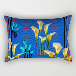 white Calla Lilies Blue & Red Pattern Art Rectangular Pillow