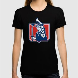 Statue of Liberty Wielding Sword Scales Justice T-shirt