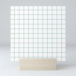 Minimalist Window Pane Grid, Sea Foam on White Mini Art Print