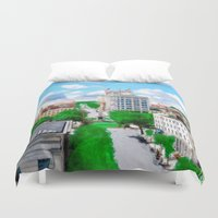 allyson johnson Duvet Covers featuring Historic Savannah - Vintage View Over Johnson Square by Mark E Tisdale