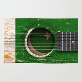 Old Vintage Acoustic Guitar with Pakistani Flag Rug