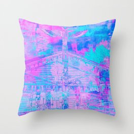 Totem Cabin Abstract - Hot Pink & Turquoise Throw Pillow