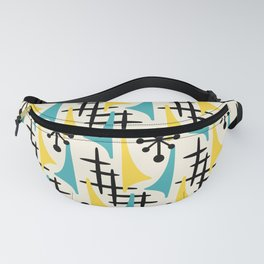 Mid Century Modern Atomic Wing Composition Turquoise & Yellow Fanny Pack
