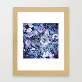 Cat In Flowers. Winter Framed Art Print
