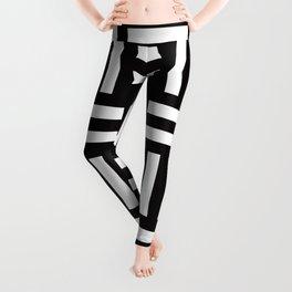 Geometric Pattern #35 (rail fence) Leggings