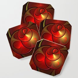 Shining Golden Red Fractal With Warmth Coaster