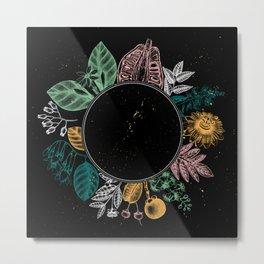 Exotic Plant Wreath - Black Metal Print