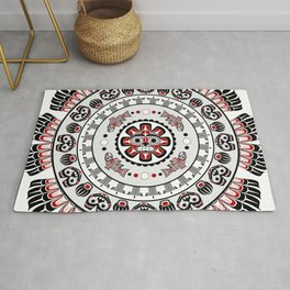 Pacific Northwest Native American Art Mandala Rug