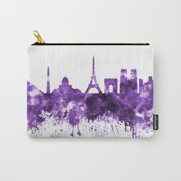 Paris skyline in purple watercolor on white background Carry-All Pouch