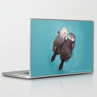 happiness Laptop & iPad Skins featuring Otterly Romantic - Otters Holding Hands by When Guinea Pigs Fly