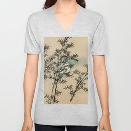 Bamboo Branches Traditional Japanese Flora Unisex V-Neck