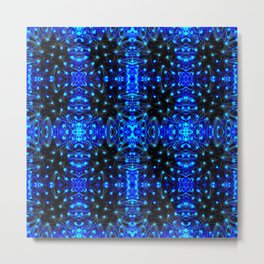 Sparkling Blue Turquoise Pattern Metal Print