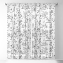 Zombie Toile - Black on White Sheer Curtain