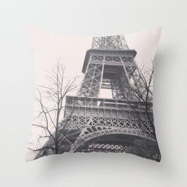 Eiffel tower, Paris, black & white photo, b&w fine art, tour, city, landscape photography, France Throw Pillow