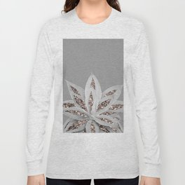 Gray Agave with Rose Gold Glitter #1 #shiny #tropical #decor #art #society6 Long Sleeve T-shirt