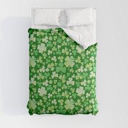 Lucky Green Watercolour Shamrock Pattern Comforters