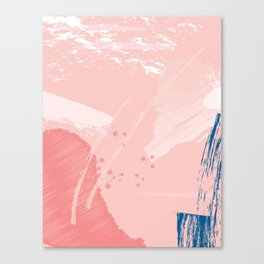 Kisses: a pretty abstract mixed media piece in pink and blue Canvas Print