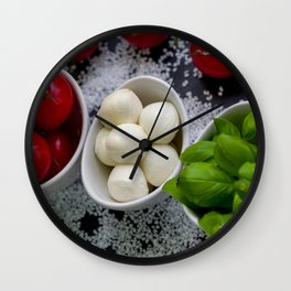 Trio of tomatoes basil fresh mozzarella Wall Clock