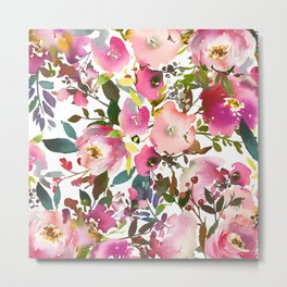 Pink coral forest green watercolor floral Metal Print