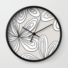 Abstract cream line flowers Wall Clock