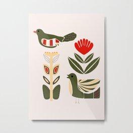 Folk art birds and flowers in a Scandinavian pattern Metal Print