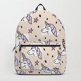 Sleepy unicorn magic wonderland pink illustration pattern Backpack