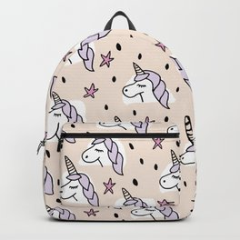 Sleepy unicorn magic wonderland pink illustration pattern Backpack