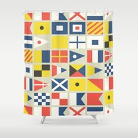 flag Shower Curtains featuring Geometric Nautical flag and pennant by Picomodi