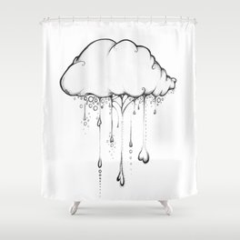 Happy Cloud Drawing, Cute Whimsical Illustration Shower Curtain