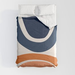 Abstract Shapes 24 in Burnt Orange and Navy Blue Comforters