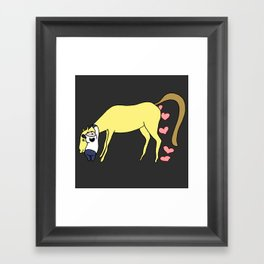 BB&PPINC Horse Hug - Charcoal Framed Art Print
